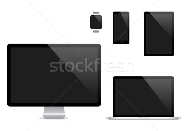 Vektör ayarlamak modern dijital bilgisayar monitörü Stok fotoğraf © Designer_things