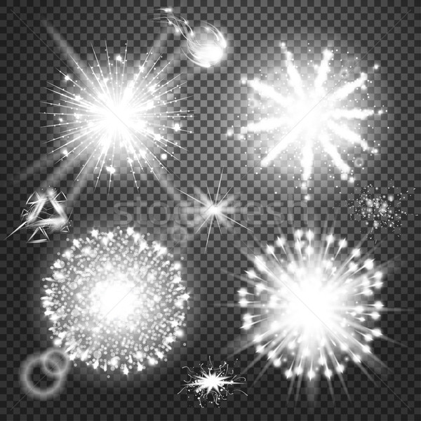 Creative concept Vector set of glow light effect stars bursts with sparkles isolated on black backgr Stock photo © Designer_things