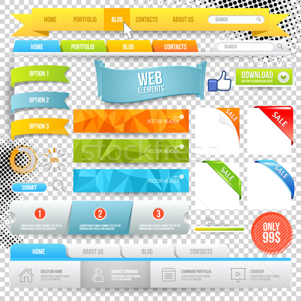Vector Web Elements. Buttons, geometric banner backgrounds, options flags Stock photo © Designer_things