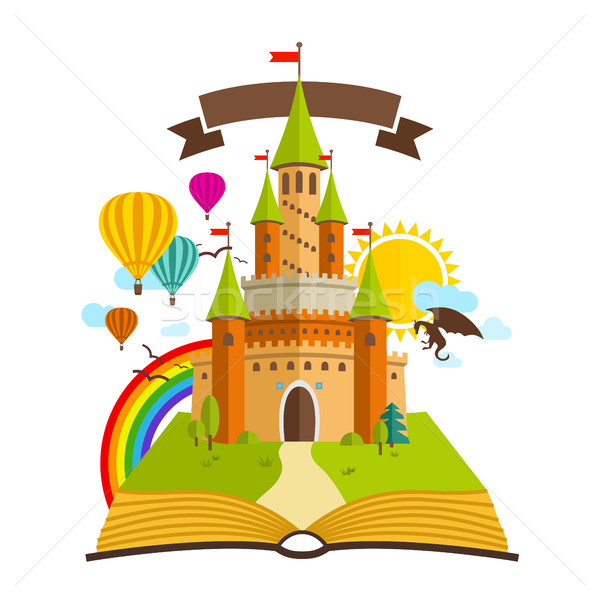 Fairy Tale castle. Vector Illustration with Book, Green Trees, dragon, sun, clouds, Baloons and Rain Stock photo © Designer_things