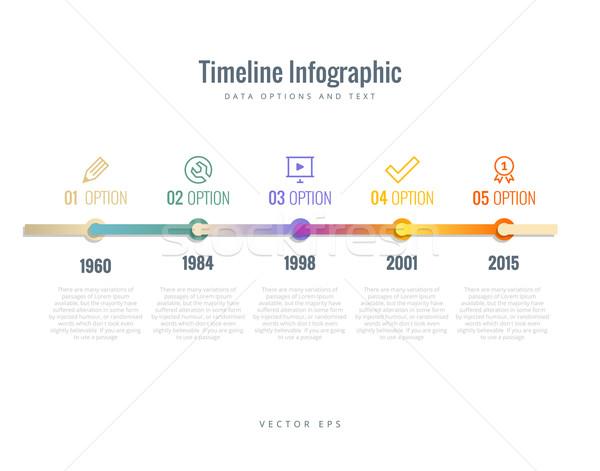 Idővonal infografika diagramok lehetőségek szöveg terv Stock fotó © Designer_things