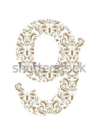 Kwiatowy numer ozdoba chrzcielnica odizolowany biały Zdjęcia stock © Designer_things