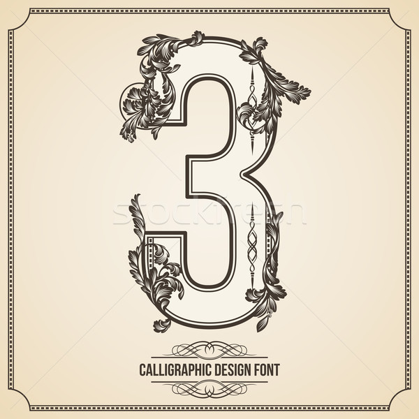 Calligraphic Font. Number 3. Vector Design Background. Swirl Style Illustration. Stock photo © Designer_things