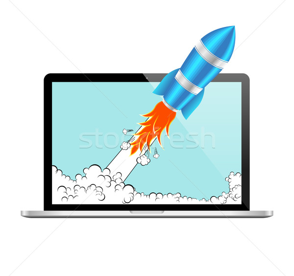 Realistic Rocket and Laptop Vector Icon. Startup Comic or Project Development Concept. Stock photo © Designer_things