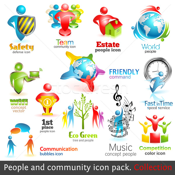 Personas comunidad 3D iconos vector diseno Foto stock © Designer_things