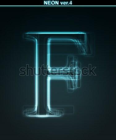 Stock fotó: Izzó · neon · betűtípus · fényes · l · betű · fekete
