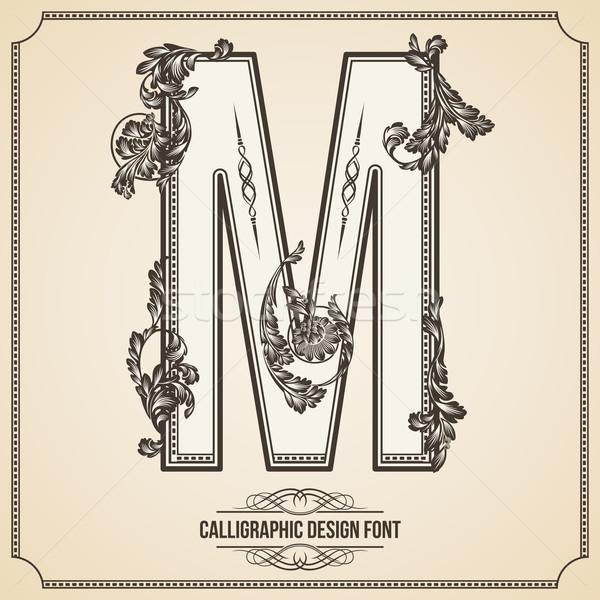 Calligraphic Design Font. Letter M Stock photo © Designer_things