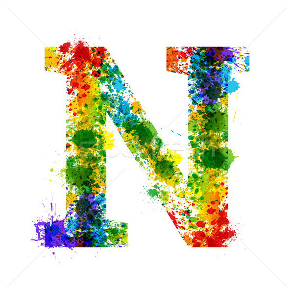 Stock photo: Color Paint Splashes. Gradient Vector Font. Watercolor Designer Decoration Alphabet. Ink Symbols Iso