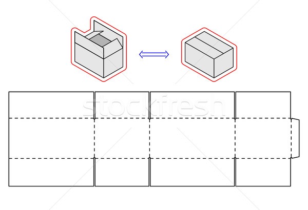Horizontal Box Template Vector Packing Simple Cardboard Cut Vector