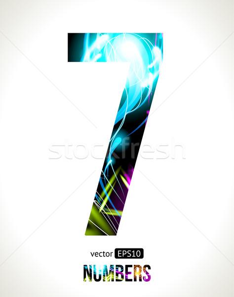 Vettore numeri design luce effetto facile Foto d'archivio © Designer_things