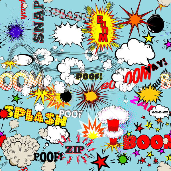 Vector Retro Seamless Pattern with Comic Speech Bubbles, Labels, Logos and Comic Book Words Stock photo © Designer_things