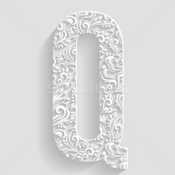 буква q вектора цветочный приглашения карт декоративный Сток-фото © Designer_things