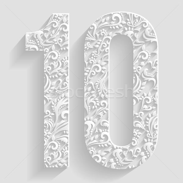 Número 10 vector floral invitación tarjetas Foto stock © Designer_things