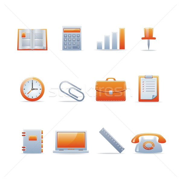 Glanzend ingesteld 12 web icons zie Stockfoto © Designer_things