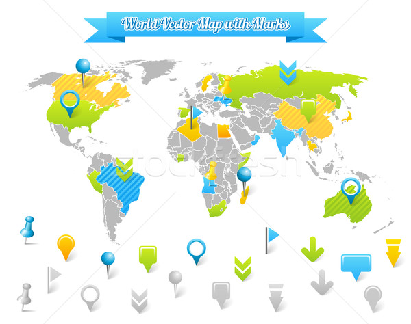 World Vector Map with Marks Stock photo © Designer_things