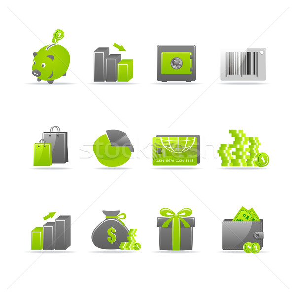 Glanzend ingesteld 12 web icons winkelen Stockfoto © Designer_things