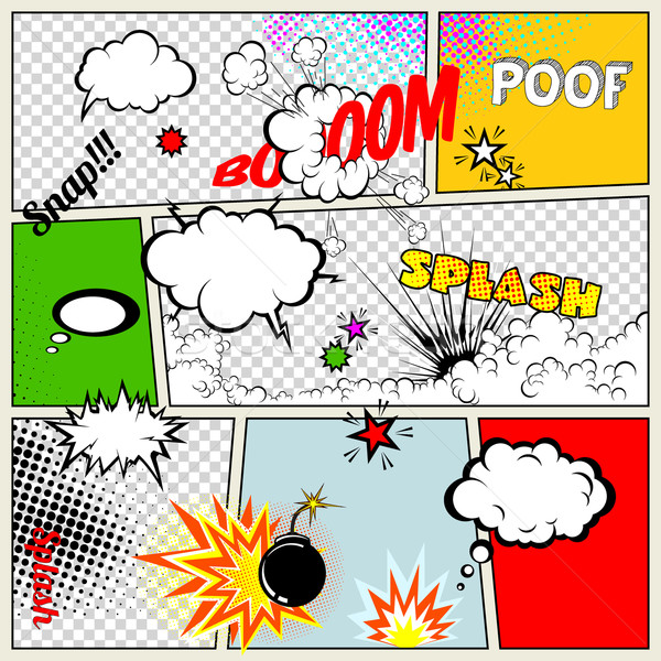 Grunge Retro Comic Speech Bubbles. Vector Illustration on Strip Background. Abstract Talking Clouds  Stock photo © Designer_things