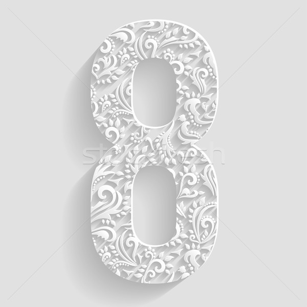 Number 8. Vector Floral Invitation cards Decorative Font Stock photo © Designer_things