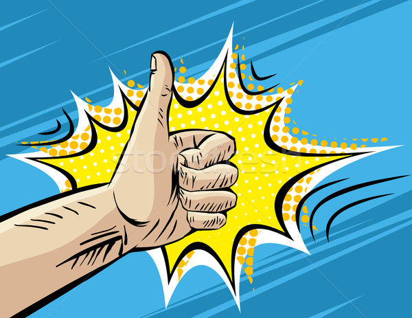 Like, Well, Fine, Hitchhiking journey Gesture. Pop art Comic retro style Vector Illustration. Imitat Stock photo © Designer_things