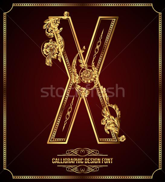 Stock fotó: Kalligrafikus · terv · betűtípus · tipográfiai · virágmintás · elemek