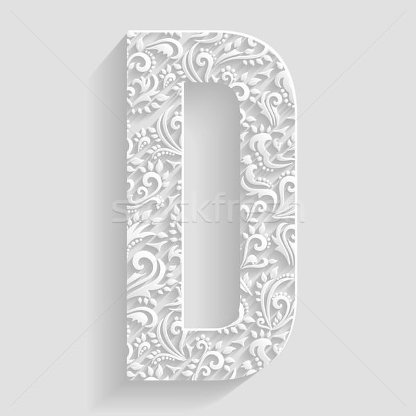 Foto stock: Letra · d · vector · floral · invitación · tarjetas · decorativo