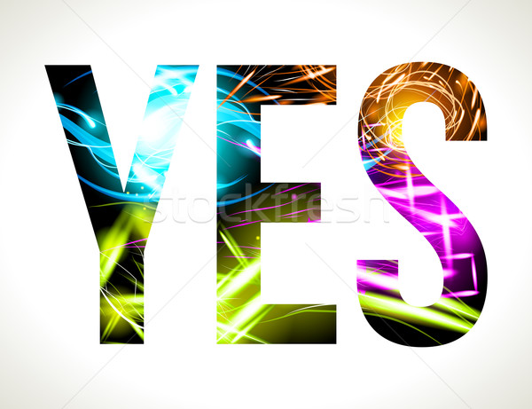 Vector design light effect word YES. Easy customizable EPS 10 Stock photo © Designer_things