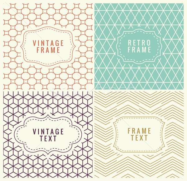 Retro Mono Line Frames with place for Text. Design Template, Badges on Seamless Geometric Patterns. Stock photo © Designer_things