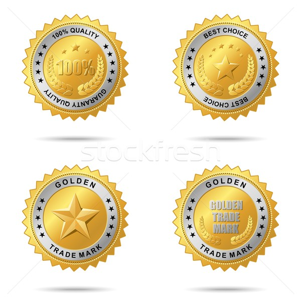 Establecer dorado vector placa Foto stock © Designer_things