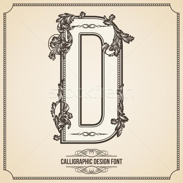 Kalligrafikus terv betűtípus d betű könyv levél Stock fotó © Designer_things