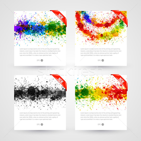 Set of bright paint splashes vector watercolor background. Eps 10 vector illustration Stock photo © Designer_things