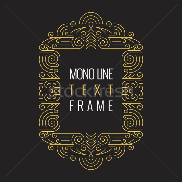 Vector Mono Line style Geometric Frame Template for Text. Golden Monogram Design element for Labels  Stock photo © Designer_things