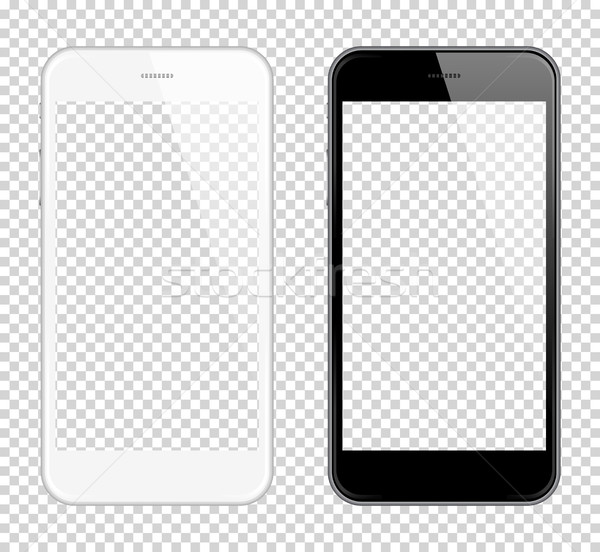 Realistic smart phone Vector Mock Up. Fully Re-size-able. Easy way to place image into screen Smartp Stock photo © Designer_things