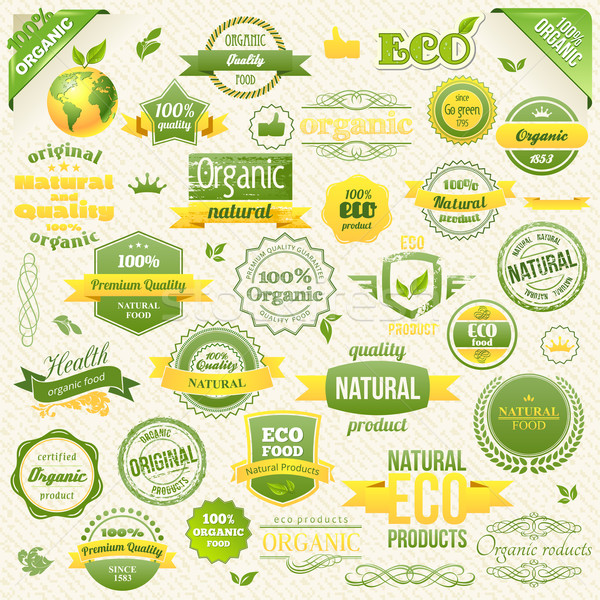 Collection Vector Organic Food, Eco, Bio Labels and Elements. Logo elements for Food and Drink. Stock photo © Designer_things