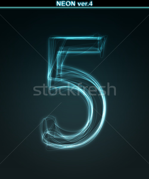 Glowing font. Shiny number 5 Stock photo © Designer_things