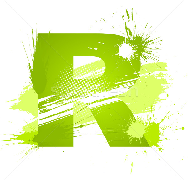 Green abstract paint splashes font. Letter R Stock photo © Designer_things