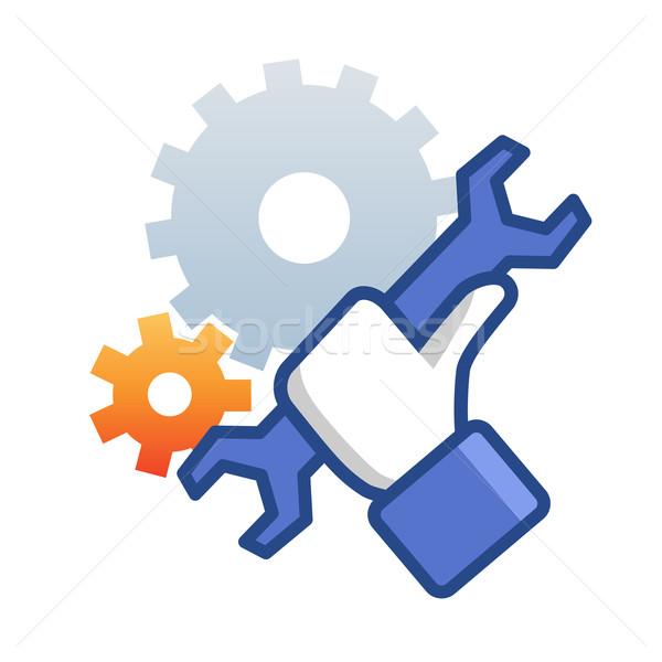 Onderhoud icon hand sleutel werk embleem Stockfoto © Designer_things