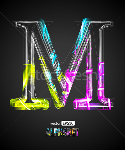 Vektör dizayn ışık etki alfabe mektup m Stok fotoğraf © Designer_things