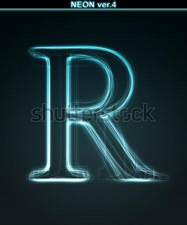 Glowing font. Shiny letter R. Stock photo © Designer_things