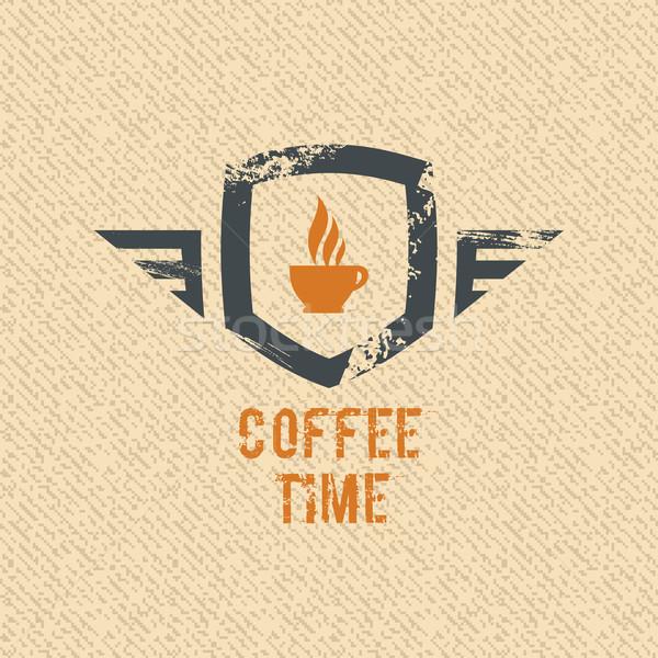 кофе время Label Гранж вектора дизайна Сток-фото © Designer_things