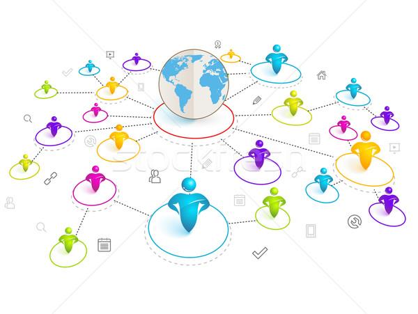 Izometrikus 3D közösségi média hálózat világtérkép térkép Stock fotó © Designer_things