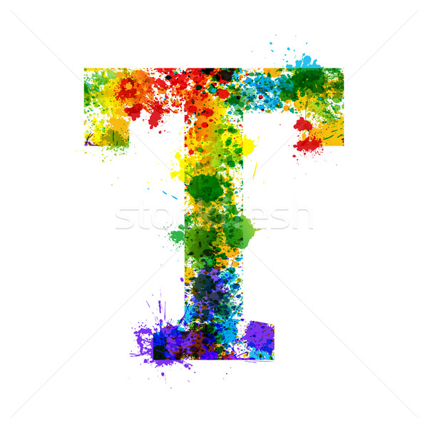 Color Paint Splashes. Gradient Vector Font. Watercolor Designer Decoration Alphabet. Ink Symbols Iso Stock photo © Designer_things