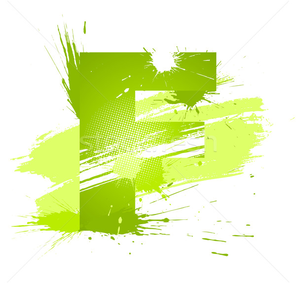 Stock photo: Green abstract paint splashes font. Letter F