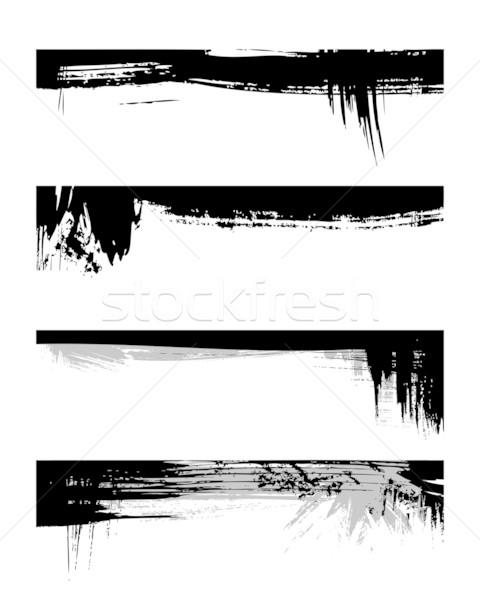 Ingesteld grunge zwarte kleur abstract pen Stockfoto © Designer_things