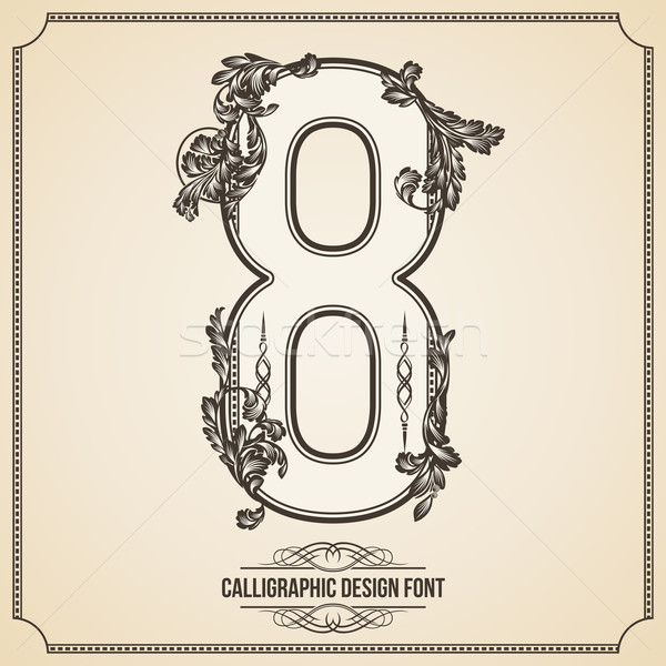 Calligraphic Font. Number 8. Vector Design Background. Swirl Style Illustration. Stock photo © Designer_things