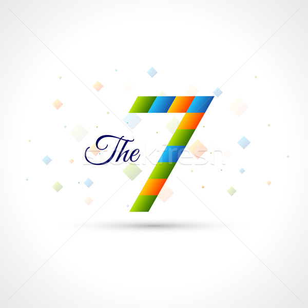 Abstract Logo Template 'The 7'. Easy to colorize to your logotype Design. Color Corporate icon Stock photo © Designer_things