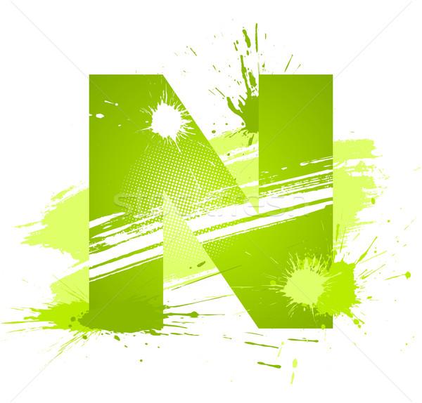 Stock fotó: Zöld · absztrakt · festék · csobbanások · betűtípus · n · betű