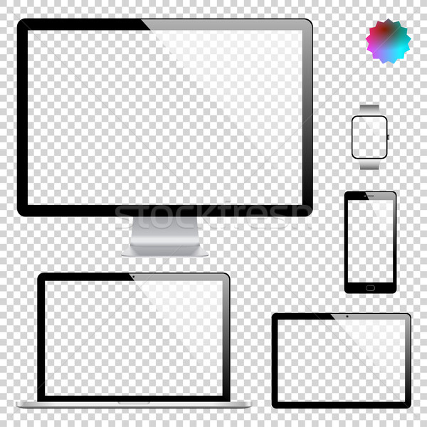 Set of realistic display, laptop, tablet computer, mobile phone, smart watch template on transparent Stock photo © Designer_things