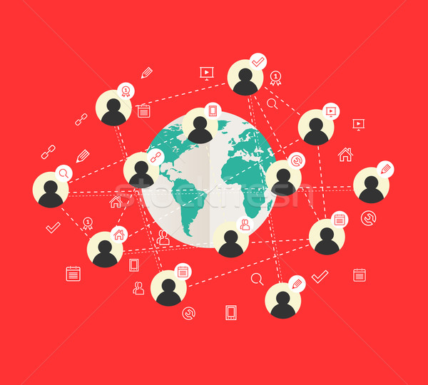 Flat design concept with world map and social network  Stock photo © Designer_things