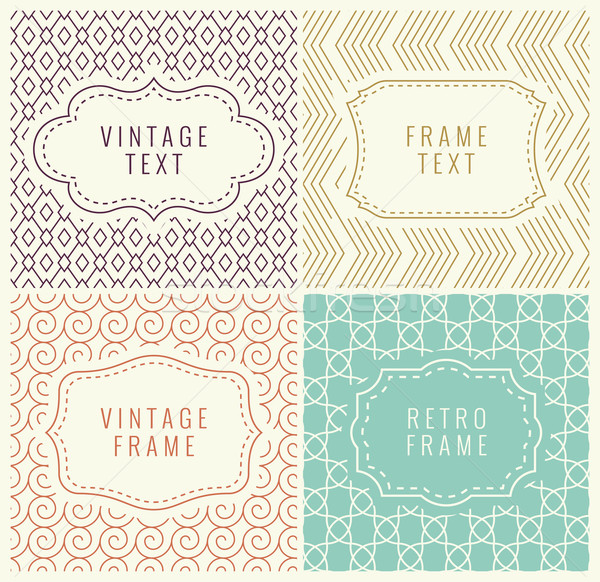 Retro Mono Line Frames with place for Text. Vector Design Template, Labels, Badges on Seamless Geome Stock photo © Designer_things