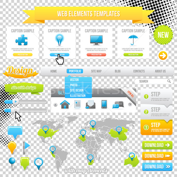 Web Elements Template, Icons, Slider, Banner and Buttons. Vector Stock photo © Designer_things